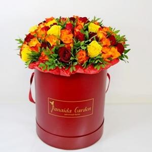 """Цветы """"Пунш"""" в шляпной коробке"""